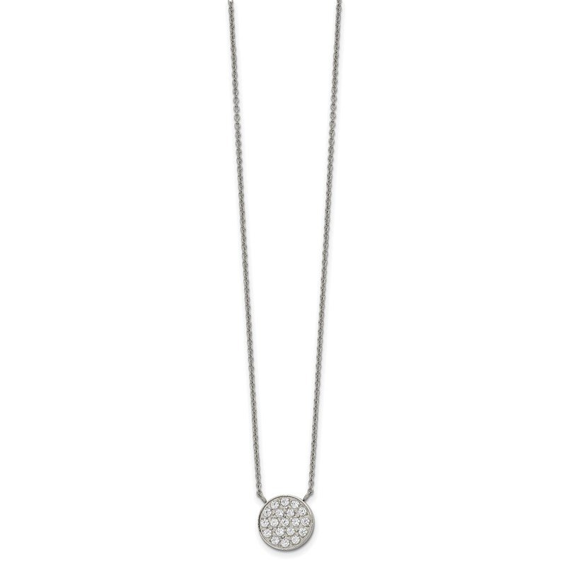 Chisel Stainless Steel Polished with CZ Circle 17in w/2in ext Necklace