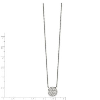 Stainless Steel Polished with CZ Circle 17in w/2in ext Necklace