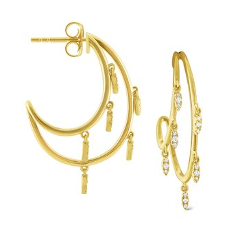 14k Gold and Diamond Double Row Hoops