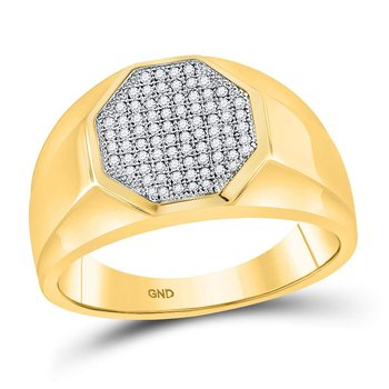 10kt Yellow Gold Mens Round Diamond Octagon Cluster Ring 1/4 Cttw