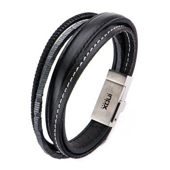 Multi Genuine Black Leather and Black Hematite Android USB Bracelet