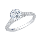 Carizza 14K White Gold Round Diamond Engagement Ring with Euro Shank (Semi-Mount)