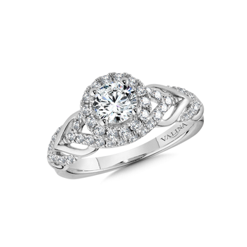Halo Engagement Ring Mounting in 14K White Gold (.49 ct. tw.)