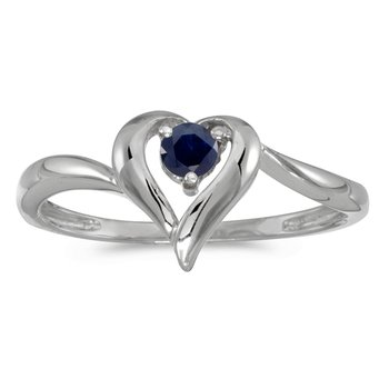 14k White Gold Round Sapphire Heart Ring