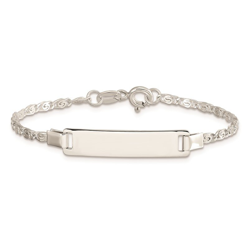 Quality Gold Sterling Silver Polished Engraveable Children's ID Bracelet