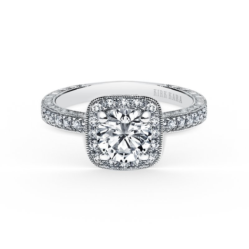 Classic Halo Diamond Engraved Engagement Ring