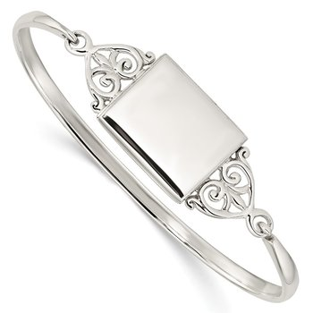 Sterling Silver Polished Rectangular 20mm Locket Bangle