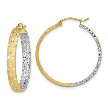 14k w/White Rhodium Polished Satin Diamond-cut In/Out Hoop Earrings