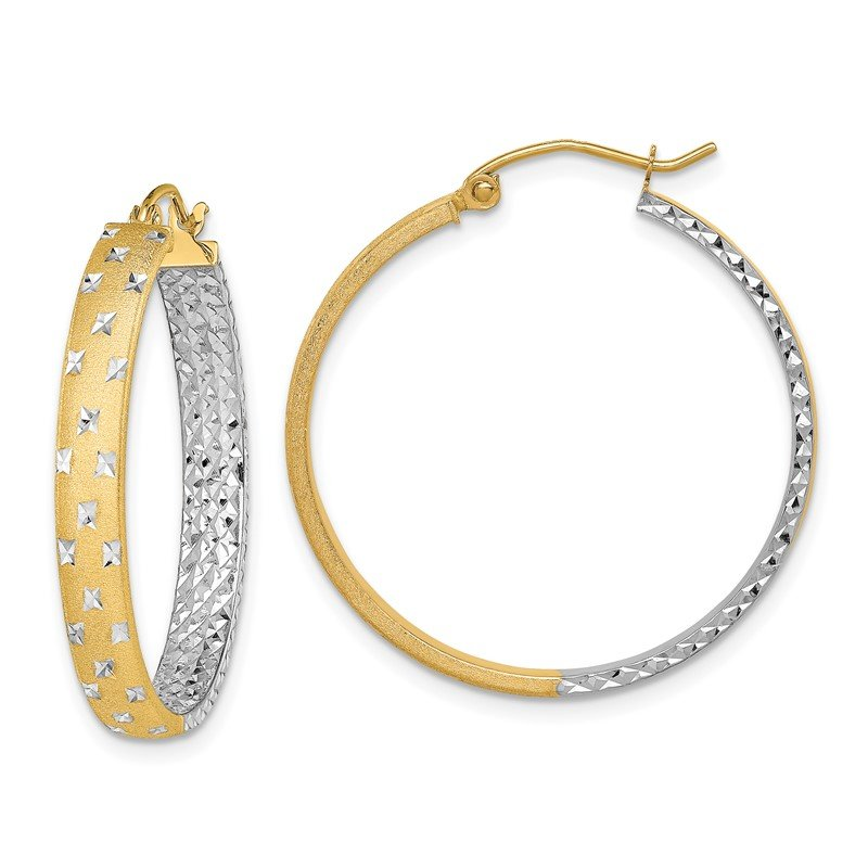 Quality Gold 14k with Rhodium Polished & Diamond-cut In/Out Hoop Earrings