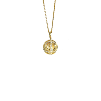 18KT GOLD BALL PENDANT WITH DIAMONDS