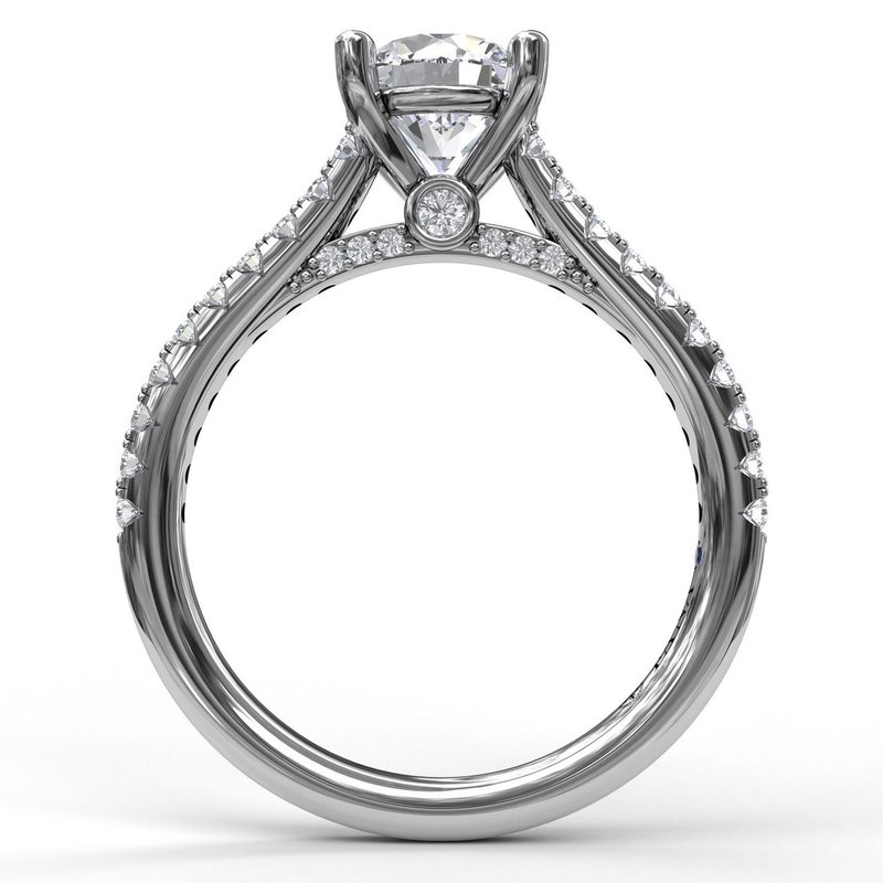 Classic Diamond Engagement Ring with Beautiful Side Detail