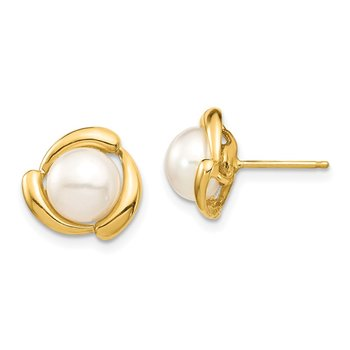 14K 7-8mm Yellow Button Freshwater Cultured Pearl Post Earrings