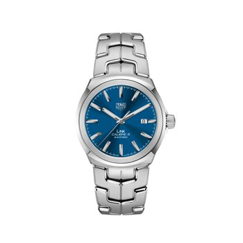 'Link' Series 41 mm Steel Watch. The Calibre 5 Automatic Movement Watch Has A Date At 3 O'Clock, Blue Dial With Applied Indexes And A Folding Clasp Bracelet. Watch Is Model WBC2110.