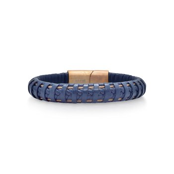 Blue Leather Wrapped Bracelet with Rose Clasp