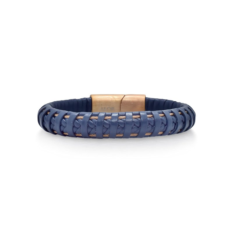 ALOR Blue Leather Wrapped Bracelet with Rose Clasp