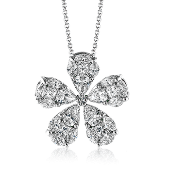 Diamond Flower White Gold Pendant