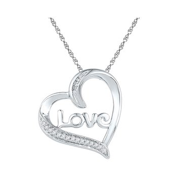 Sterling Silver Womens Round Diamond Heart Love Pendant 1/12 Cttw