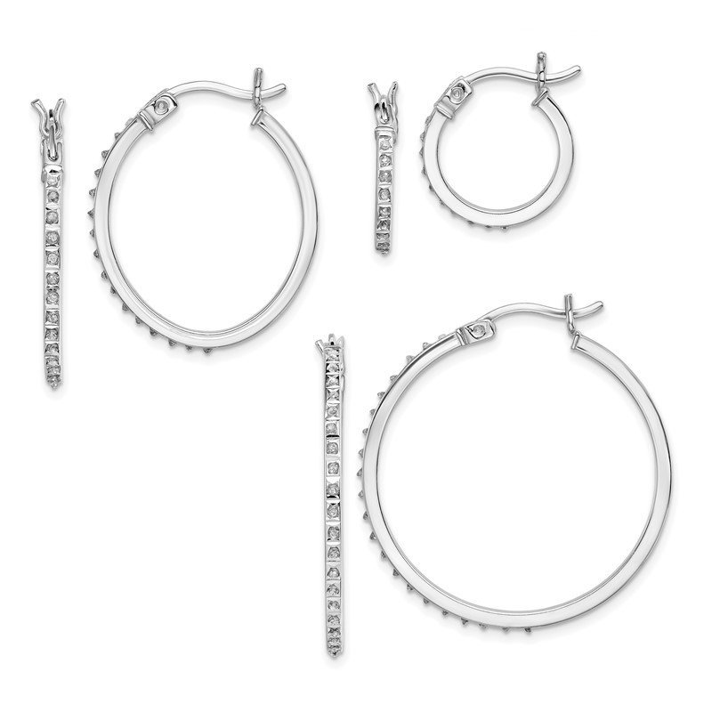 Quality Gold Sterling Silver Diamond Mystique Oval & Round Hoop Earrings Set