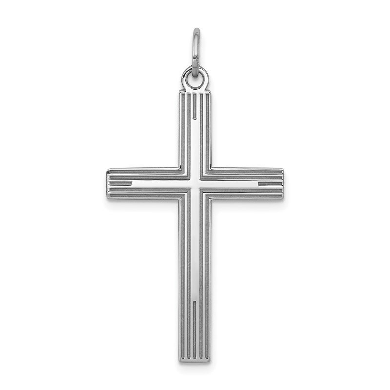 Arizona Diamond Center Collection Sterling Silver Rhodium-plated Laser Designed Cross Pendant