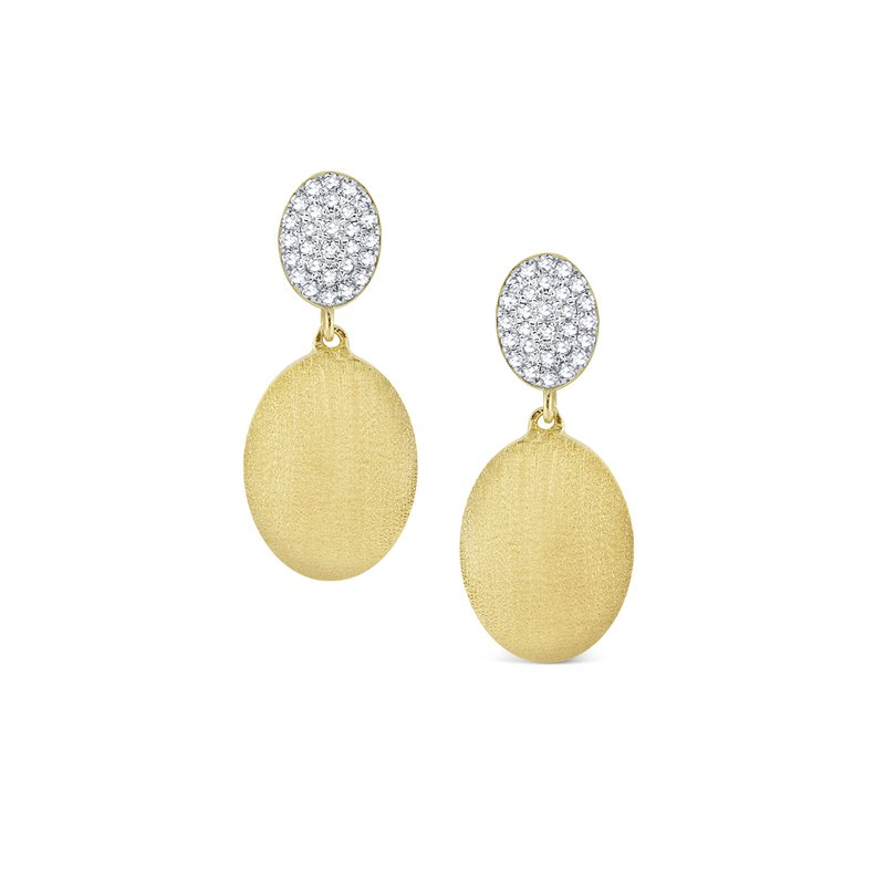 MAZZARESE Fashion Diamond Oval Disc Tag Earrings Set in 14 Kt. Gold