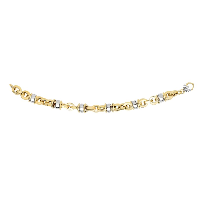 Royal Chain 14K Gold Rondel Station Heritage Link Bracelet
