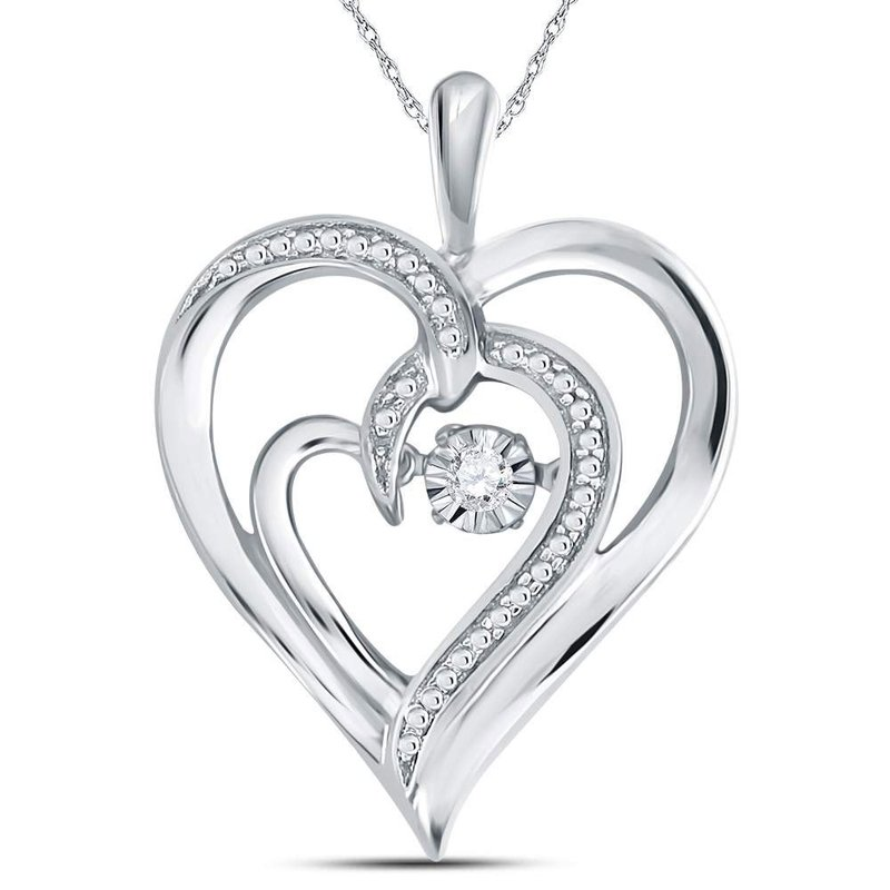 Kingdom Treasures Sterling Silver Womens Round Diamond Heart Moving Twinkle Pendant .03 Cttw