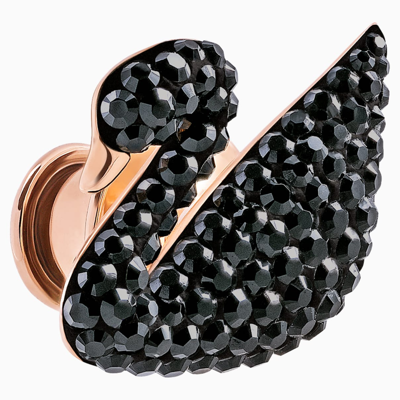 Swarovski Iconic Swan Tack Pin, Black, Rose-gold tone plated