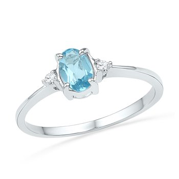 10kt White Gold Womens Oval Lab-Created Blue Topaz Solitaire Diamond Ring 1.00 Cttw