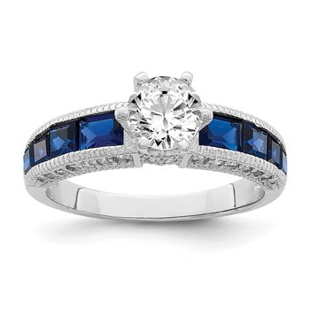 Sterling Silver Rhodium-plated Synthetic Blue Spinel & CZ Ring