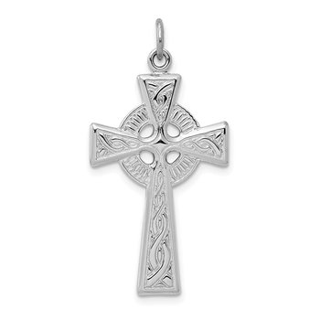 Sterling Silver Rhodium-plated Celtic Cross Pendant