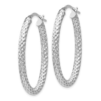Leslie's Sterling Silver Polished & Textured Oval Hinged Hoop Earrings