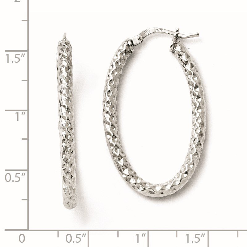Leslie's Leslie's Sterling Silver Polished & Textured Oval Hinged Hoop Earrings
