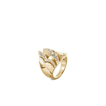 Lahar Saddle Ring in 18K Gold with Diamonds