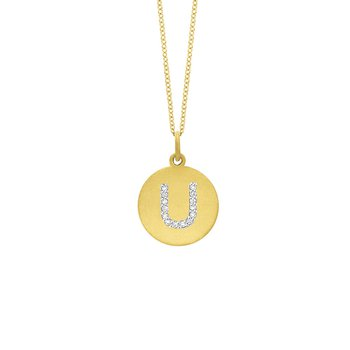 "Diamond Disc Initial ""U"" Necklace in 14k Yellow Gold with 14 Diamonds weighing .07ct tw."