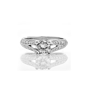 Vintage Inspired Split Shank Diamond Engagement Ring
