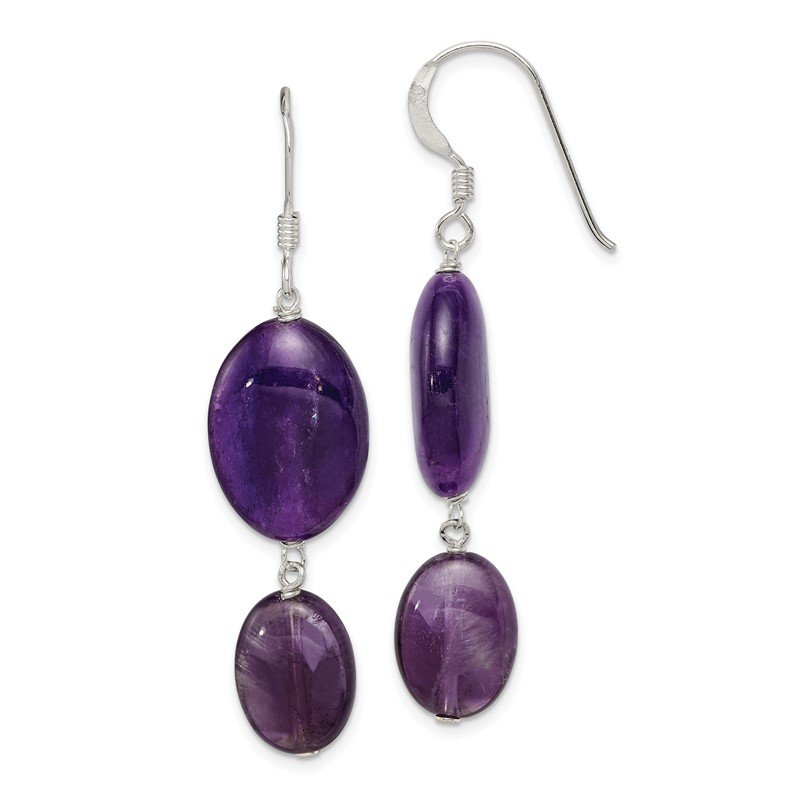 Quality Gold Sterling Silver Amethyst and Dark Purple Jade Earrings