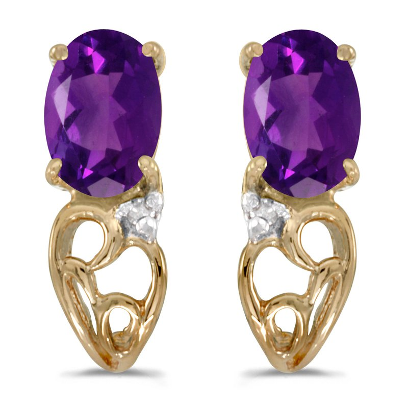 Color Merchants 10k Yellow Gold Oval Amethyst And Diamond Earrings