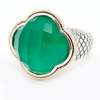 18kt and Sterling Silver Green Agate Clover Large Ring