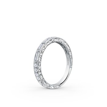 18K White Gold Diamond Engraved Stackable Wedding Band