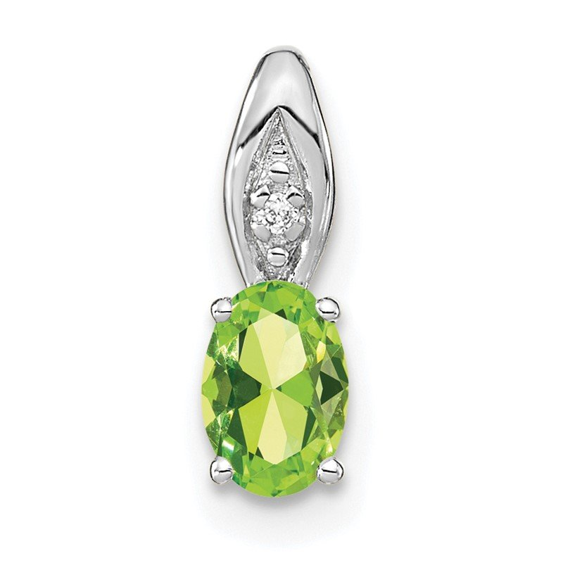 Quality Gold 14k White Gold Peridot and Diamond Pendant