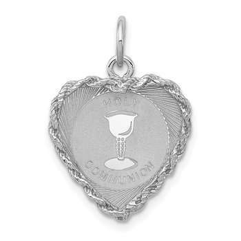 Sterling Silver Rhodium-plated Holy Communion Disc Charm
