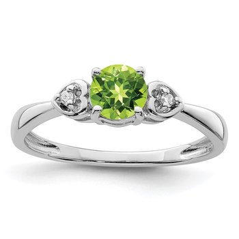 Sterling Silver Rhodium Plated Diamond and Peridot Round Ring