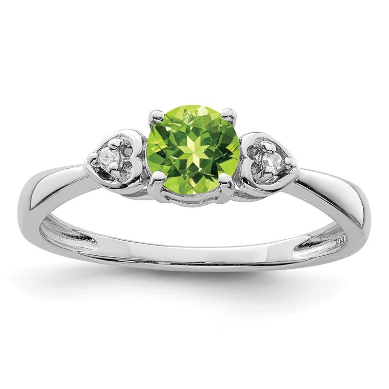 Quality Gold Sterling Silver Rhodium Plated Diamond and Peridot Round Ring
