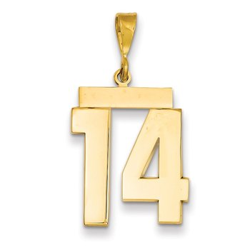 14k Large Polished Number 14 Charm