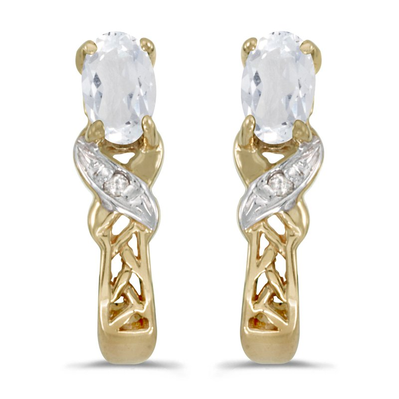 10k Yellow Gold Oval White Topaz And Diamond Earrings