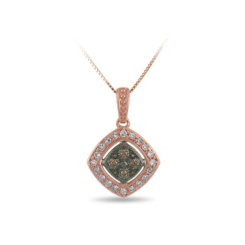 10K RG White and Champagne Diamond Square Pendant in Prong Setting Milgrain and Black Rhodium Finish