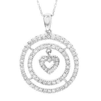 14k White Gold 1/2ct Diamond Circle Heart Pendant