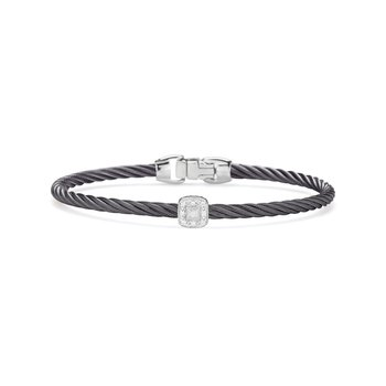 Steel Grey Cable Essential Stackable Bracelet with Single Square Diamond Station set in 18kt White Gold
