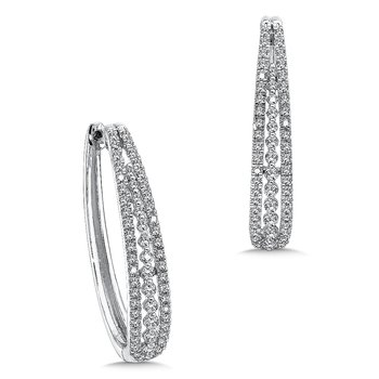 Prong set Diamond Hoops in 14k White Gold (1.00 ct. tw.) JK/I1