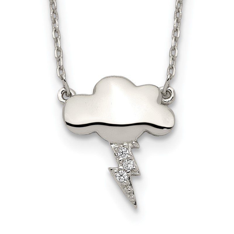 Quality Gold Sterling Silver Storm Cloud with CZ w/2 in ext Necklace